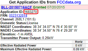Use fccdata.org to get application IDs