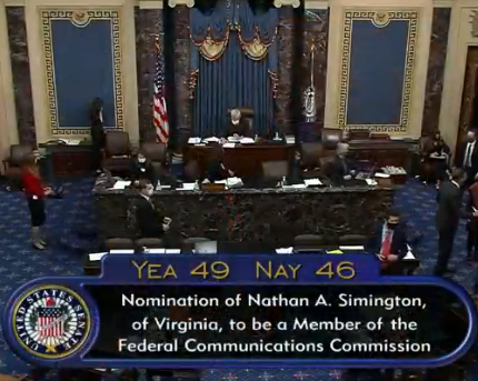 Senate floor, nomination of Nathan A. Simington, of Virginia, to be a Member of the Federal Communications Commission. Yea 49, Nay 46.